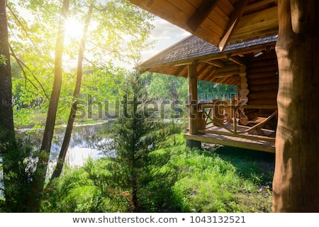 Old wooden house by river Stock photo © colematt