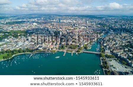Kilátás Zürich hegy Svájc égbolt ház Stock fotó © borisb17