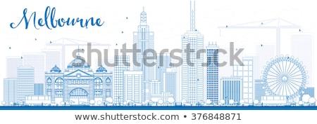 Melbourne linha do horizonte azul edifícios Foto stock © ShustrikS