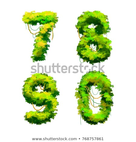 Cartoon tropical vines and bushes font isolated on white, 7 8 9 0 glyphs Stock photo © evgeny89