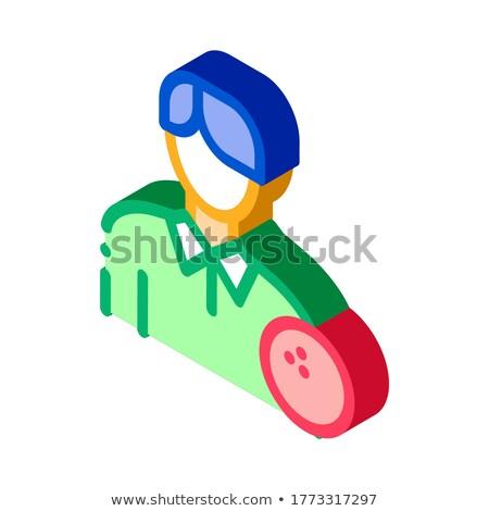 Férfi bowling izometrikus ikon vektor felirat Stock fotó © pikepicture