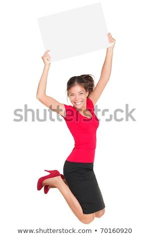 tonen · teken · vrouw · springen · poster - stockfoto © smithore