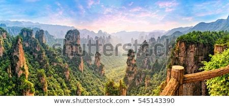Mountain view with world landmarks Stock photo © ajlber