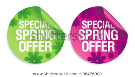 Сток-фото: новых · весны · предлагать · зеленый · цветок · Label