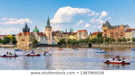 Stockfoto: Praag · historisch · water · wolken · brug