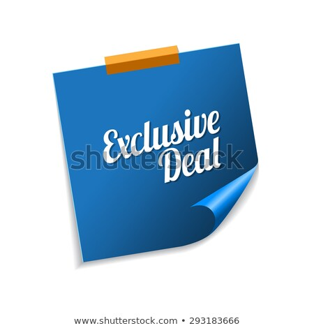 Exclusief deal Blauw sticky notes vector icon Stockfoto © rizwanali3d