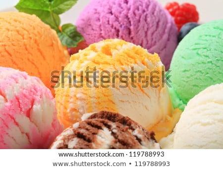 abrikoos · ijs · dessert · perzik · witte · achtergrond - stockfoto © Digifoodstock