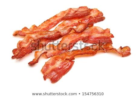 Cozinhado fatia bacon isolado branco café da manhã Foto stock © mady70