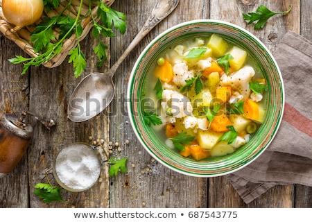 Zöldségleves húsleves étel ősz főzés sárgarépa Stock fotó © M-studio