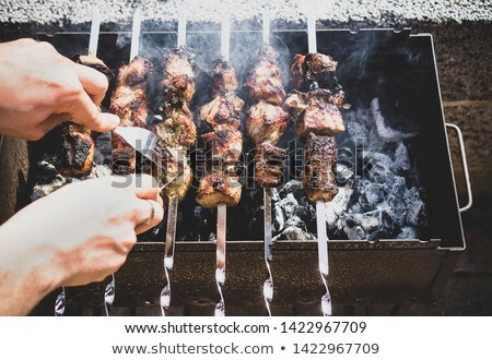 smoky grilled marinated meat skewers chicken stock photo © yatsenko