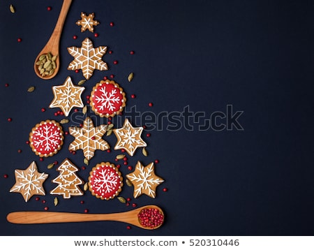 Christmas holidays ornament flat lay; Christmas cookies on a woo Stock photo © Konstanttin