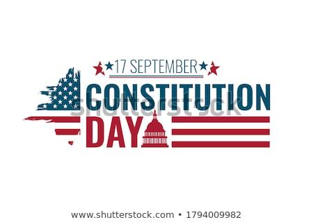 Szöveg boldog alaptörvény nap amerikai zászló közelkép Stock fotó © nito