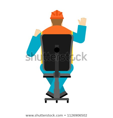 Machine operator sits on chair. Worker in helmet earning worksho Stock photo © popaukropa