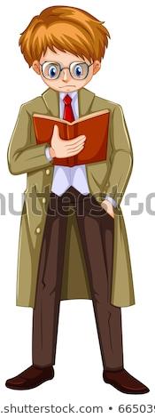 Man in brown overcoat reading book Stock photo © colematt