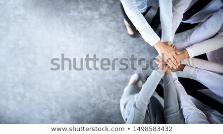 üzleti · csapat · lány · megbeszélés · munka · üzletember · csoport - stock fotó © lemony
