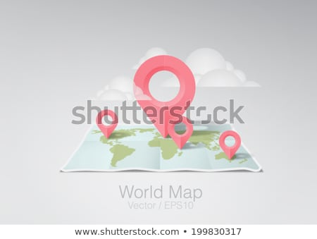 paper world map flat icon stock photo © biv