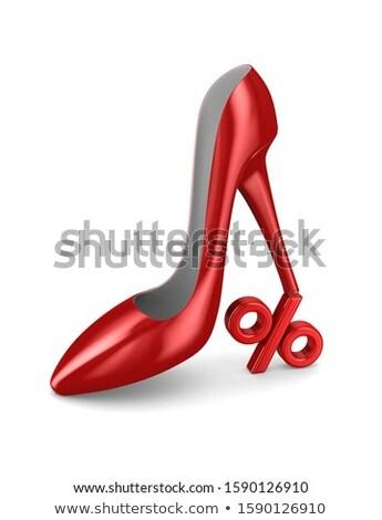 red women shoe and percent on white background. Isolated 3d illu Stock photo © ISerg