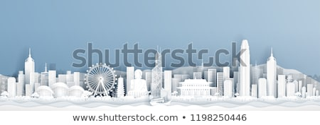 Hong Kong zwart wit silhouet toerisme presentatie Stockfoto © ShustrikS