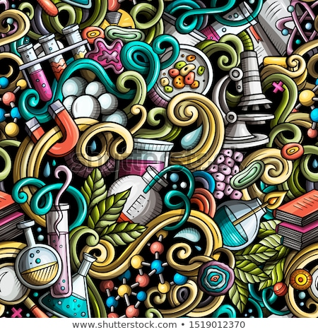Cartoon cute doodles hand drawn Medicine seamless pattern. Stock photo © balabolka