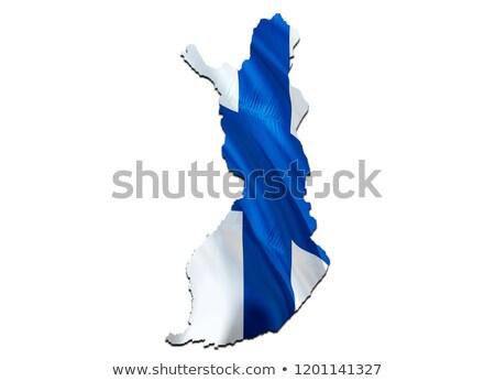 Finnország vidék sziluett zászló izolált fehér Stock fotó © evgeny89