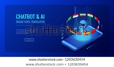 Tercüman İngilizce fransız yapay zeka 3d illustration el Stok fotoğraf © limbi007