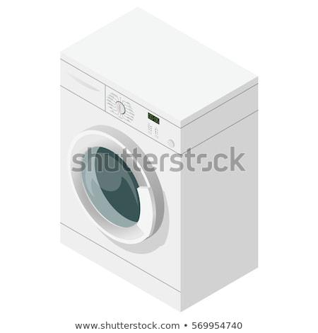 çamaşırhane çamaşır makinesi izometrik ikon vektör imzalamak Stok fotoğraf © pikepicture