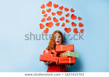 Beautiful woman gets a lot of gifts Stock photo © pzaxe