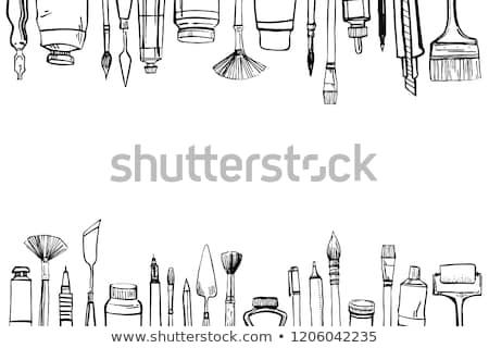 Живопись инструменты изолированный белый древесины портфель Сток-фото © HectorSnchz