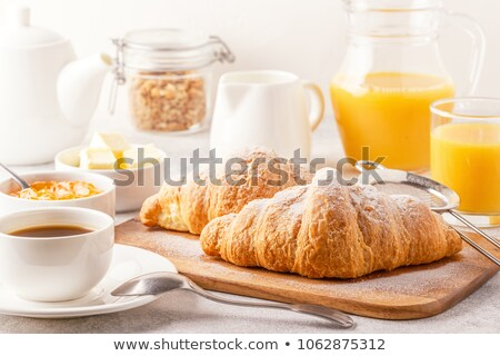 Foto stock: Frescos · croissant · jugo · de · naranja · azul · tela · jugo