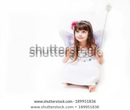 little cheerful girl with white wings stock photo © konradbak