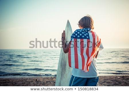 Americano bandeiras voador alto montanhas montanha Foto stock © LAMeeks