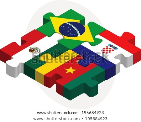 Brazília · Horvátország · zászlók · puzzle · izolált · fehér - stock fotó © istanbul2009