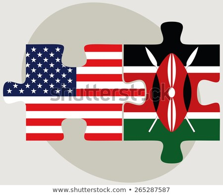 USA Kenya zászlók puzzle vektor kép Stock fotó © Istanbul2009