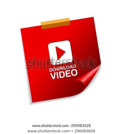 download video red sticky notes vector icon design stock photo © rizwanali3d
