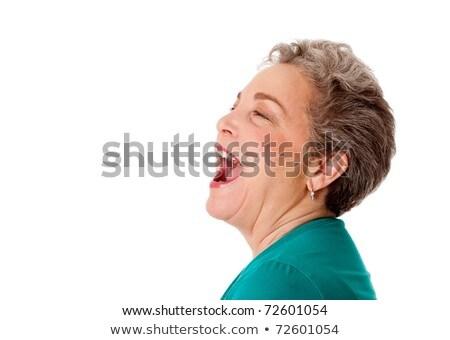 gelukkig · senior · vrouw · praten · schreeuwen - stockfoto © phakimata