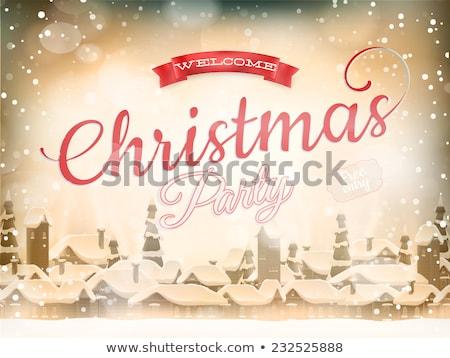 Karácsony tájkép poszter eps 10 vektor Stock fotó © beholdereye