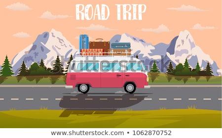 Furgon piknik út utazás színes illusztráció Stock fotó © lenm