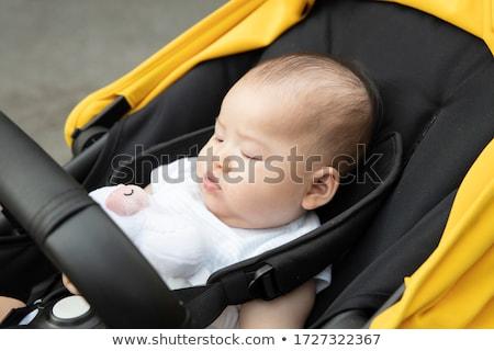 little asian baby girl sleeping in a stroller stock photo © kenishirotie