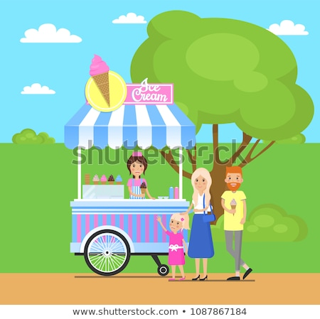 Ice Cream Stand and Family Vector Illustration Stock photo © robuart