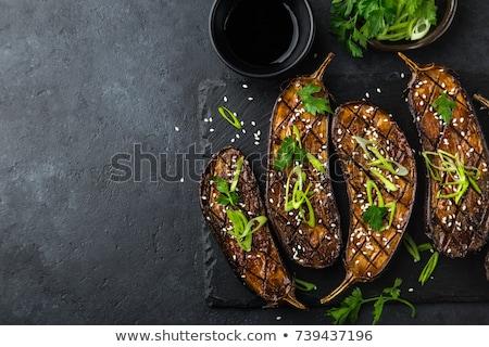 Stockfoto: Grilled Vegetables On Black Background Diet Vegan Food