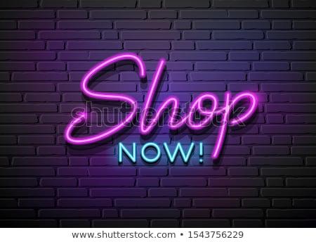 Ecommerce neón signos colección vector negocios Foto stock © balasoiu