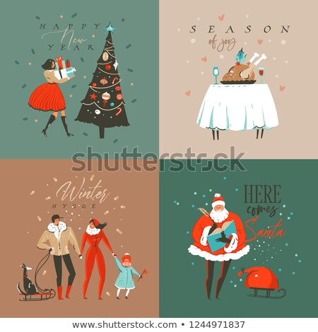 Christmas new year colorful nordic art tag set  Stock photo © cienpies