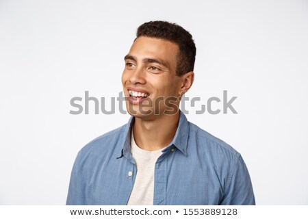Close-up portrait enthusiastic, handsome brazilian man, look amused and entertained left, smiling ha Stock photo © benzoix