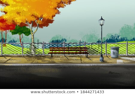 Lampost and bench Stock photo © emattil