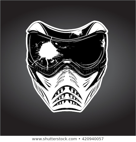 Paintball masque blanche fusil rouge chute Photo stock © mayboro1964