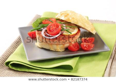 pan fried salmon patty stock photo © digifoodstock