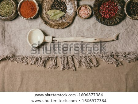 Wooden spoon in earthenware Stock photo © simply