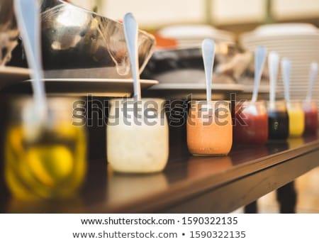 Kremsi salata sosu mayonez sarımsak otlar baharatlar Stok fotoğraf © Digifoodstock