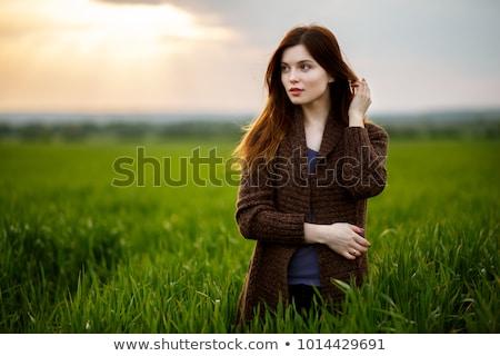 美しい ブルネット 女性 麦畑 日没 幸せ ストックフォト © chesterf