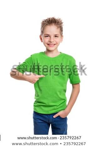 Yeşil gömlek örnek mutlu çocuk Stok fotoğraf © bluering